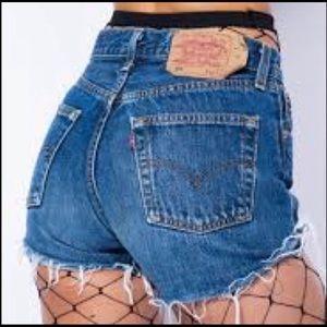Vintage Levis USA 501 cut off shorts blue 28